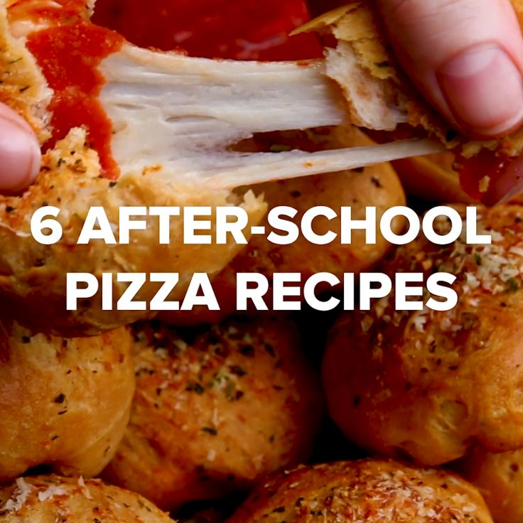 6 After-School Pizza Recipes ~ Pizza Bombs, Pizza Bread Boats, Cheese-Stuffed Pizza Pretzel, Pizza Onion Rings, Pizza Cups, and Pizza Dippers.