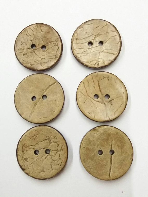 Set of 6 Coconut Brown Buttons 25mm  set di 6