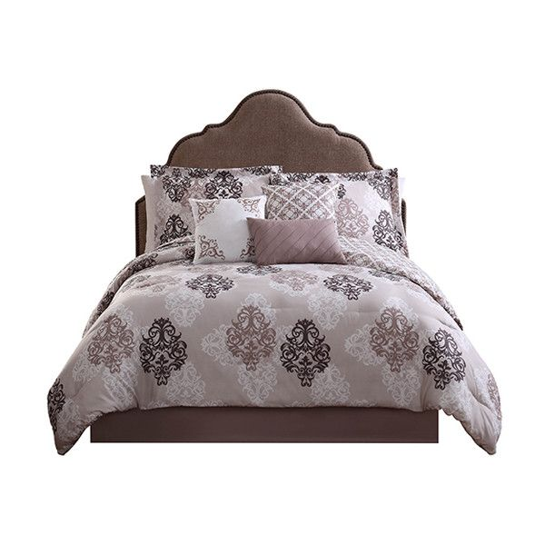 Studio 17 Taupe Java Seven-Piece Reversible Comforter Set ($73) ❤ liked on Polyvore featuring home, bed & bath, bedding, comforters, taupe bedding, tan comforter, tan bedding, taupe sham and taupe comforter