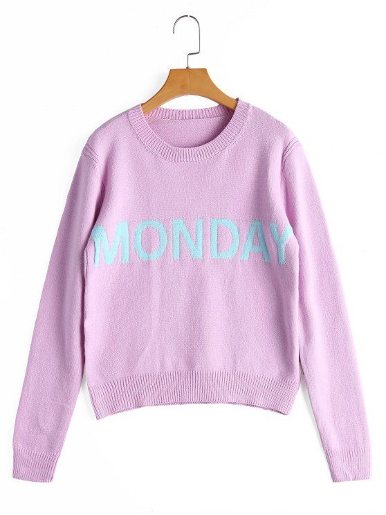 Letter Graphic Crew Neck Sweater - PINKISH PURPLE ONE SIZE