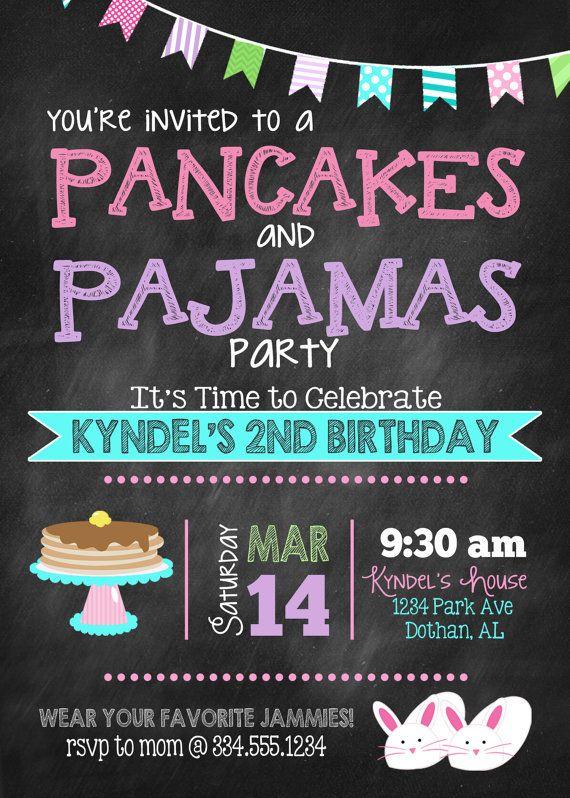 Pancakes and Pajamas Birthday Invitation by LaLoopsieInvites