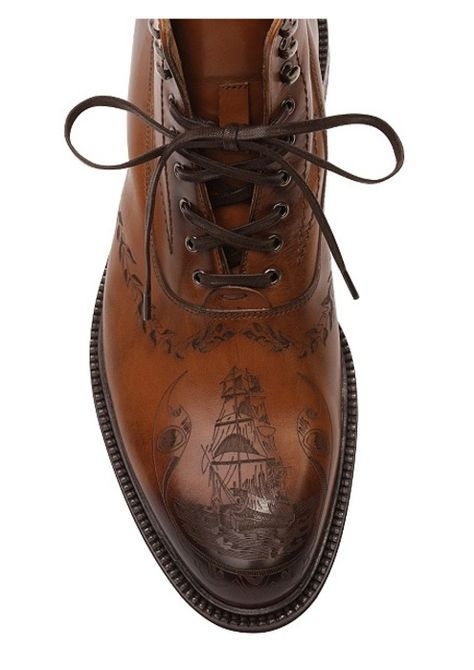 Alexander McQueen Pirate ship engraved leather men's dress boots.