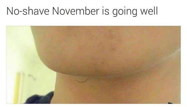 7 - 1 tiny hair on mans chin joked to be his no-shave November