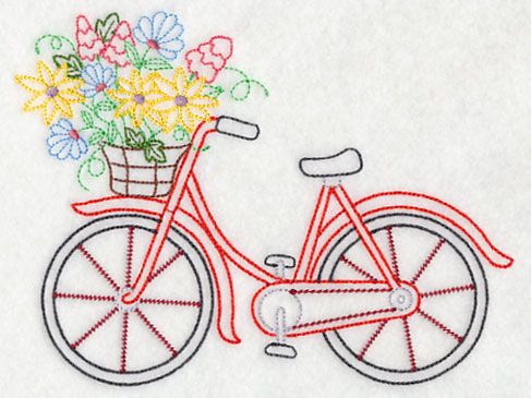 Bicycle in Bloom (Vintage) design (K7454) from www.Emblibrary.com