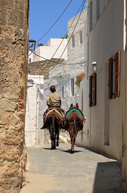 Lindos Street View, Island of Rhodes, Greece