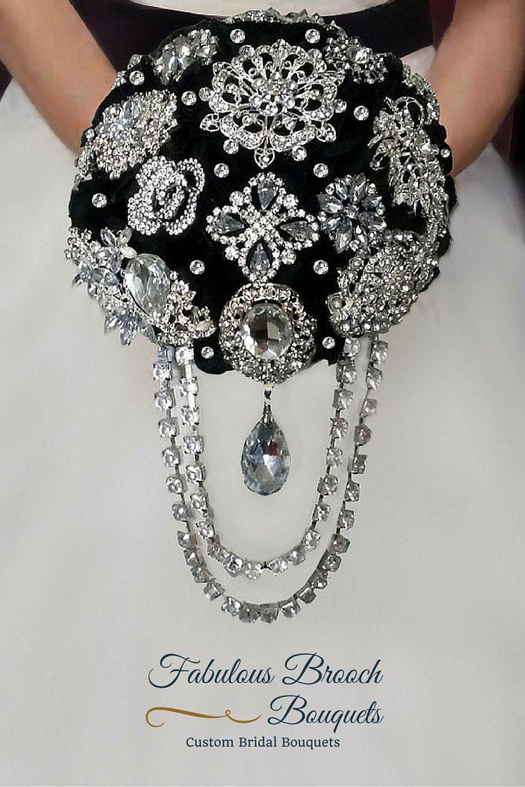 Elegant Black Brooch Bouquet Cascading Brooch by FabulousBouquets