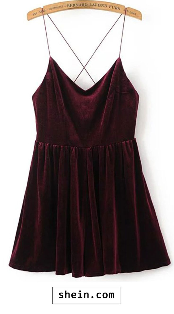 Spaghetti Strap Cross Back Velvet Romper. More colors for you! http://bellanblue.com