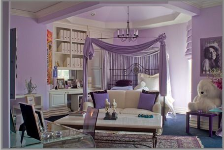 This is the perfect bedroom set for the senator's daughter. The theme of purple and white is meant to show royalty and status. The room is very girly, elegant, spacious and fabulous! Plus, what's a rich girl's bedroom without a chandelier?