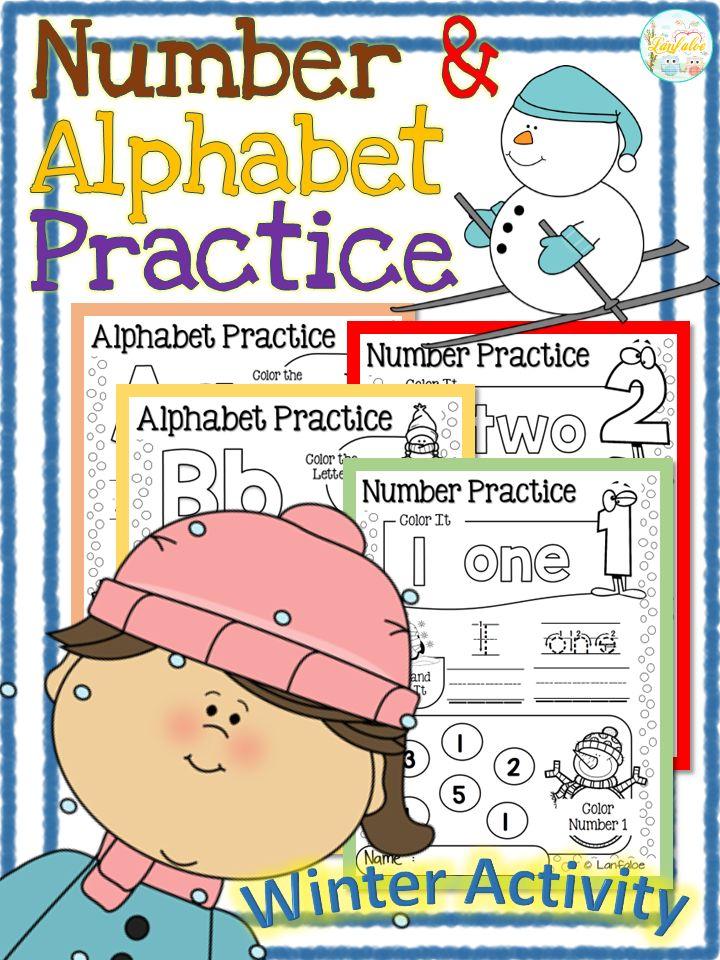Winter Activity!! Number and Alphabet Practice