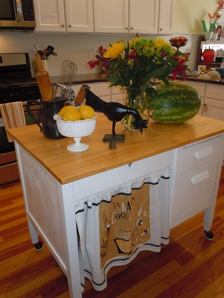 Repurpose An Old Student Desk Into A Kitchen Island For