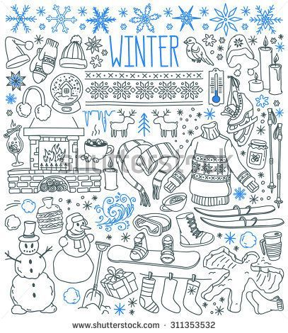 Winter season themed doodle set – snowflakes, icic…