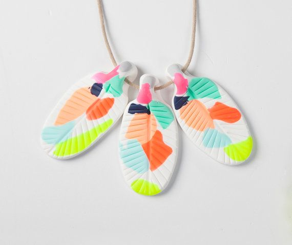 Hey, I found this really awesome Etsy listing at https://www.etsy.com/listing/200782763/multi-coloured-neon-clay-feather