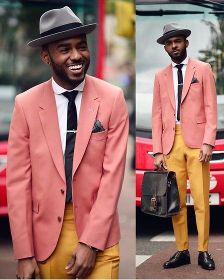 Get this look: http://lb.nu/look/8058210  More looks by Martell Campbell: http://lb.nu/martellcampbell  Items in this look:  Lock & Co Tribly, Paul Smith Blazer, Paul Smith Mustard Trousers, Oliver Sweeney Learher Double Monk Shoe, Reiss Silk Tie   #artistic #classic #dapper #bold #boldcolour #paulsmith #oliversweeney #blockcolour #colourblocking