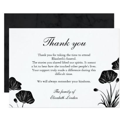 Black White Poppies Funeral Thank You Zazzle Com Floral