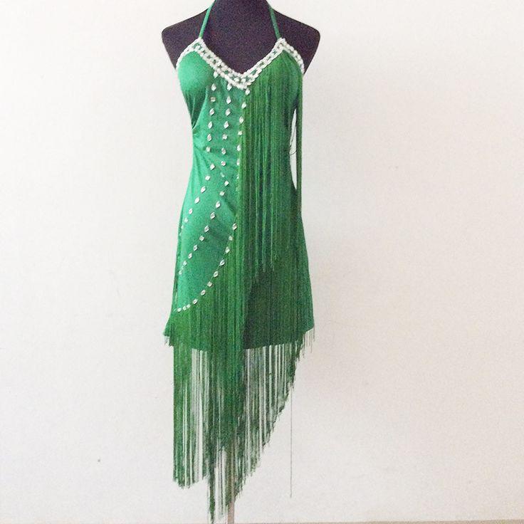 V-neck Strap Latin Dance Dress New 2016 Women Diamond Tassel Latin Flapper Dance Backless Strap Women Dancewear vestiti da ballo