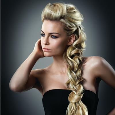 Loose braid created by Ken Paves with 16 inch Ombre Hairdo extension and Hairdo Beach Curl Pony.