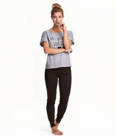 Schlaf-T-Shirt und Hose | Schwarz | Damen | H&M DE