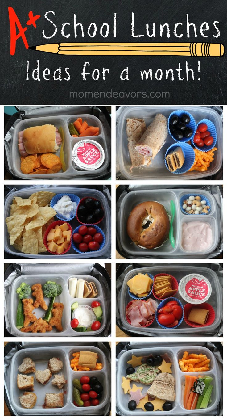 A month of kid-approved school lunches - easy & creative ideas! Plus, links to printable lunch box notes & supplies! -via momendeavors.com