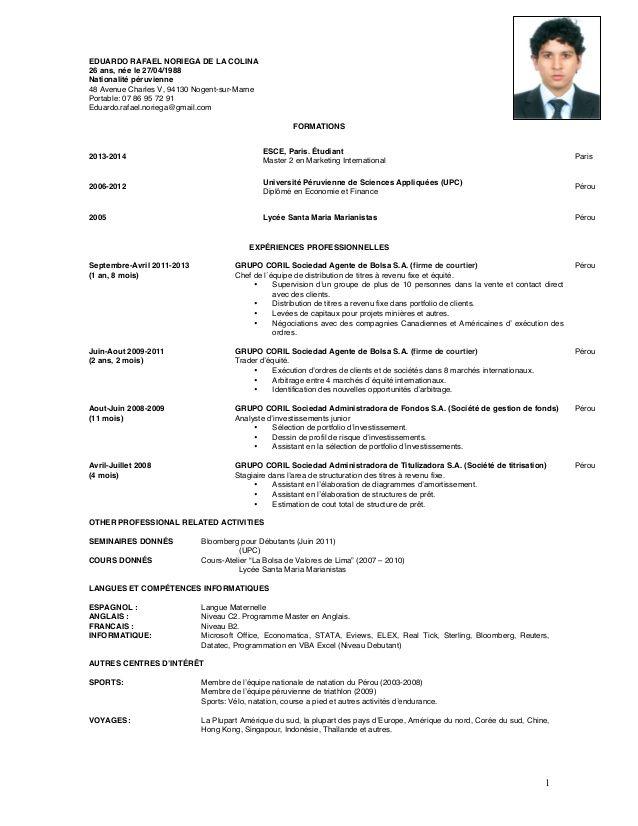 Curriculum Vitae Francais Modelo De Curriculum Vitae