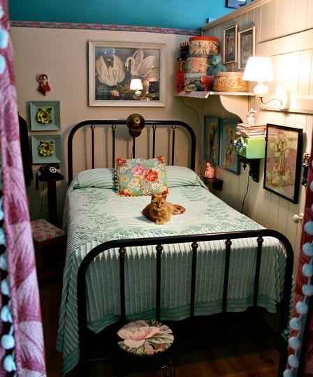 Vintage bedroom with an orange cat