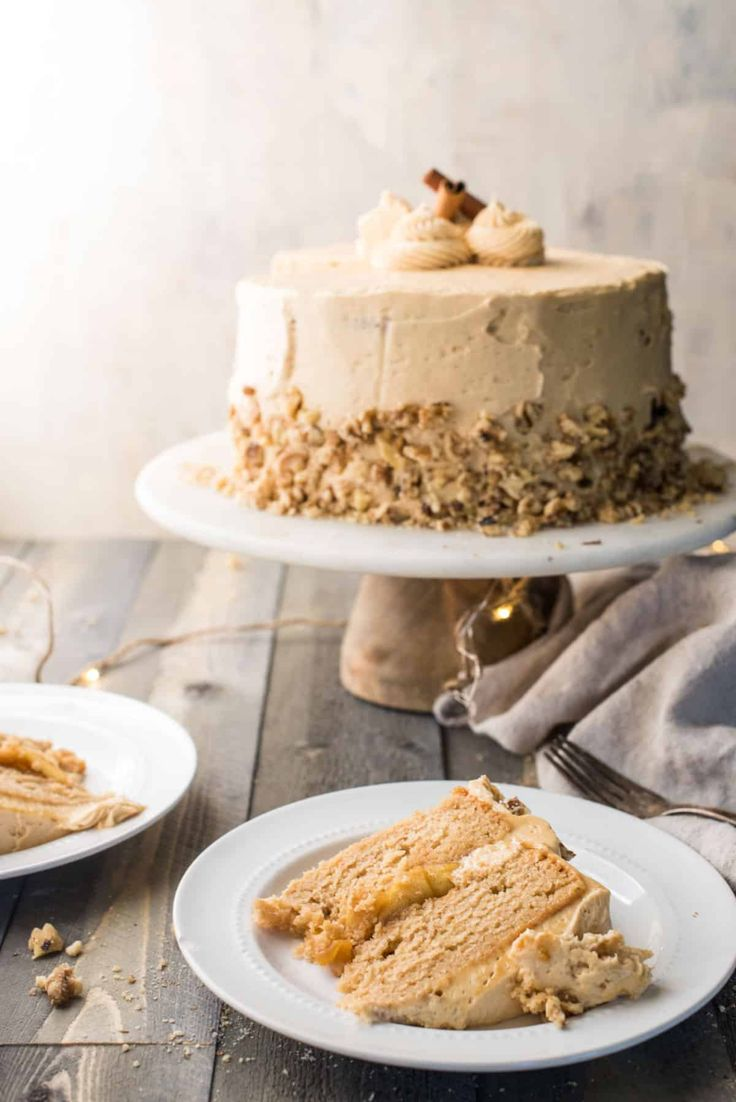 The perfect fall cake for a special occasion or holiday. Sweet and fall spiced apple cider cake, gooey caramel apple filling and salted caramel buttercream. #fallbaking #appledesserts