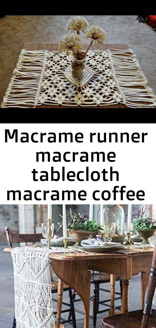 Macrame Runner Macrame Tablecloth Macrame Coffee Table Runner
