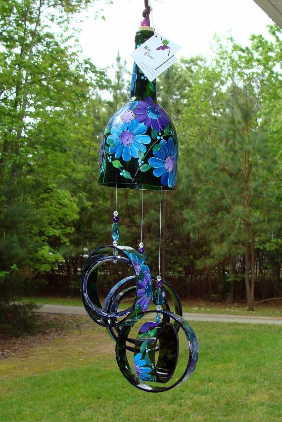 """Wind Chime, """"Ocean flowers"""" , made from recycled wine bottle -  fashioned  into a  Large Wine-Chime!"""