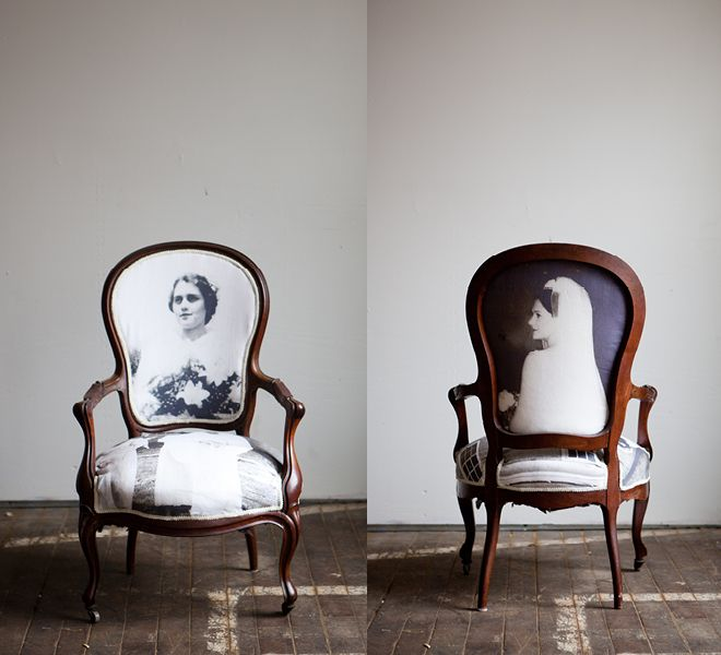 "Chair reupholstered in family photos // ""Hi! Welcome to our home! You can wait here or sit on my great grandmother till everyone else arrives. :)"""