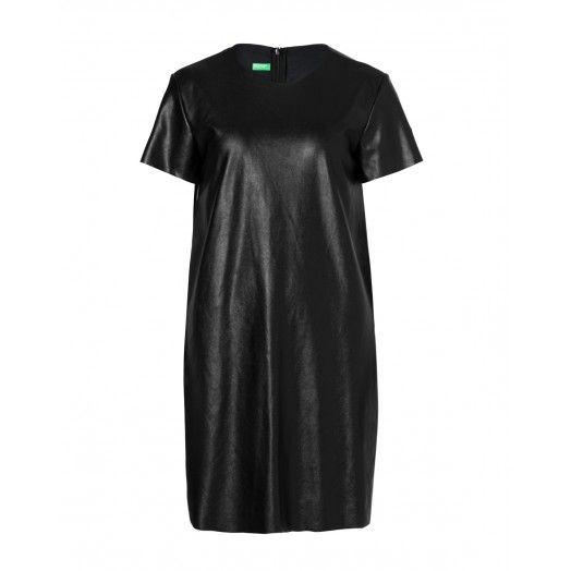 Vestito, vestibilità dritta, in ecopelle stretch con collo rotondo.4FG75V4B3 black