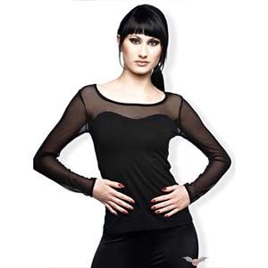 This black top with mesh sleeves is decorated with tiny black round studs on the bust line. It is ideal by itself or under a corset as the net line fits ideally. The Covered Bust Mesh Long Sleeve Top by Queen of Darkness at the Gothic Garden.    Weight : 130.00g    Made from 95 cotton, 5 lycra    Ref : GGSH1229510   Price : 26.99 GBP Now Only £13.50