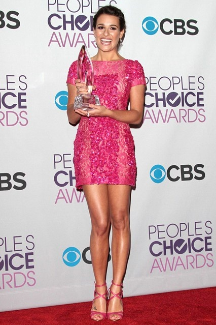 Lea Michele wears the ultimate girly dress - a pink lace and sequin affair from Elie Saab.