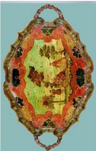 Table en cabaret en bois peint et doré travail italien, Venise, ca 1750. 83 x 97 x 60 cm. 13,750 EUR