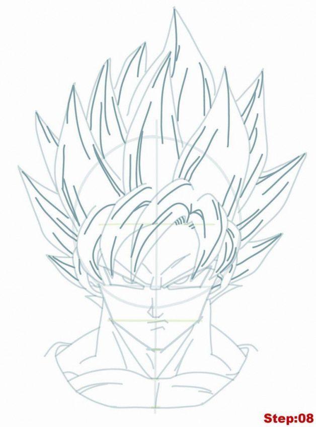 Drawing Goku Super Saiyan From Dragonball Z Tutorial Step 08 Drawing Dragon Drawing Goku Zeichnung Manga Augen Zeichnen Zeichnen