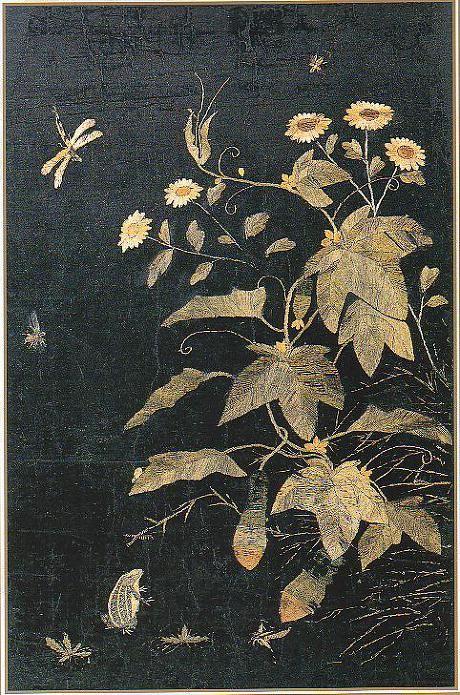 (Korea) Embroidery Folding screens by Shin Saimdang (1504~1551). 65×40cm. Donga University Museum. Treasures No.595.
