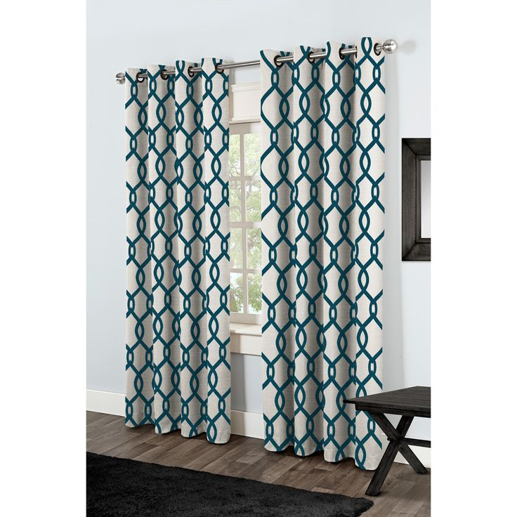 ATI Home Kochi Linen Blend Grommet-top Curtain Panel Pair (Teal - 84), Blue, Size 54 x 84