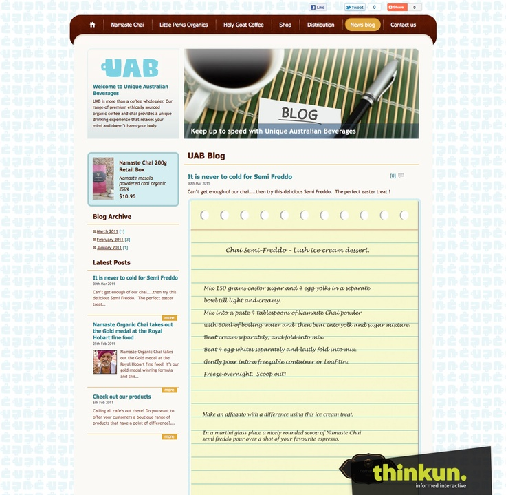 Unique Australian Beverages website