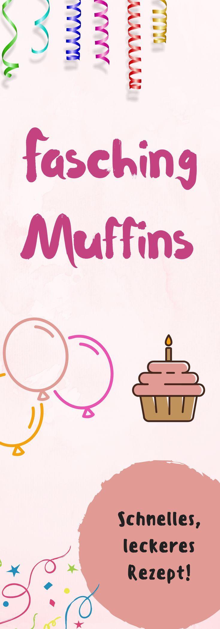Schnelle, einfache Faschings-Muffins. Ein Rezept für Mütter und Kinder zu Karneval, Fasching, Fastnacht.