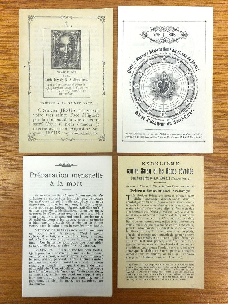 Antique 1910 1920 French Exorcism Booklets Against Satan and Revolted Angels, True Face of God, Monthly Prayers in Preparation to Death