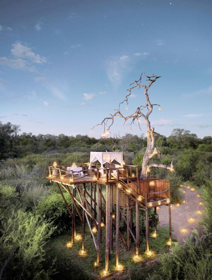 Übernachtung im Treehouse in Südafrika. Romantischer geht's nicht: Gemeinsam der nächtlichen Tierwelt lauschen, hoch über den Baumkronen, an einem besonders exklusiven Logenplatz. Die Baumhaus-Suite in der River Lodge ist ein geschützter Schlafplatz mit Fünfsterne-Komfort im privaten Nationalpark in Sabi Sand.