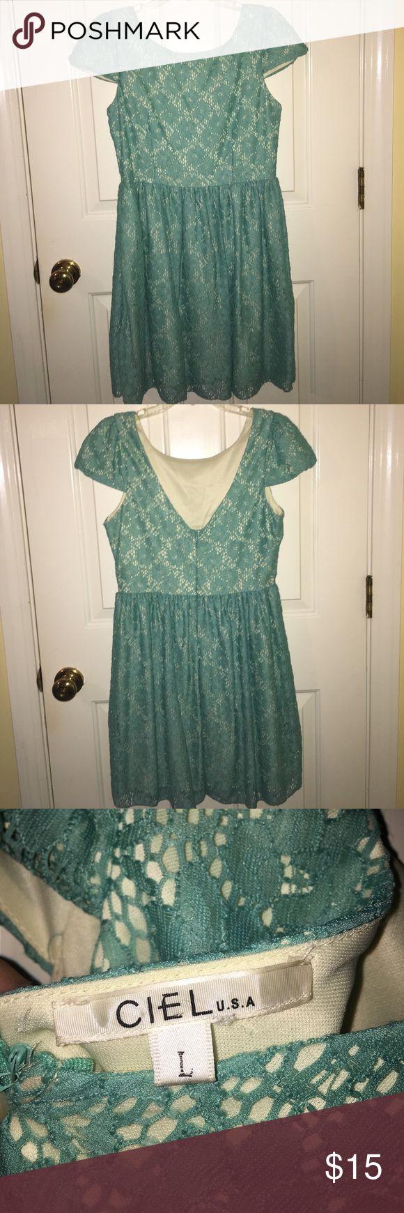 CIEL USA Dress Light turquoise lace dress with cream slip. Lower V back. CIEL USA Dresses Mini