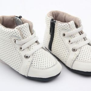 Fawn + Finch – White Leather High Tops these gorgeous baby and toddler high-tops are made from super soft cow leather, they are fully lined with leather and have an innersole that makes it super comfy for your little ones to get around in; they really are the perfect combination of comfort and durability.  designed by myself, these high-tops are one of a kind; you won't find them anywhere else.  their stretchy elastic and zip on style mean that these soft-soled bootiemoccasins offer ease in