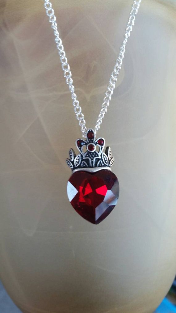Disney Descendants EVIE inspired Necklace / Queen of Hearts Red Heart Crown