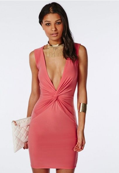 Slinky Knot Front Plunge Bodycon Dress Coral - Dresses - Bodycon Dresses - Missguided