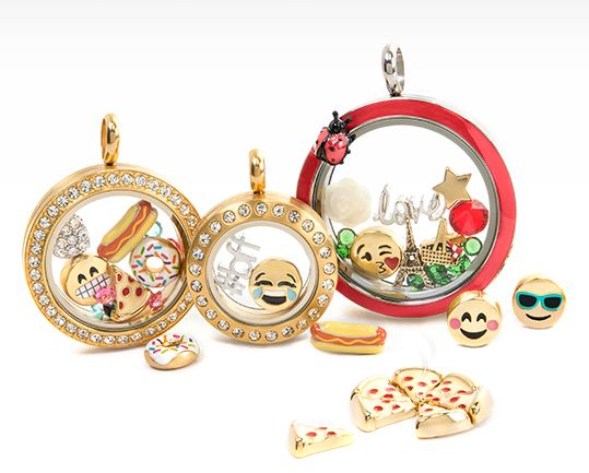 Put In A Happy Face!  Charmojis™ are double-sided FUN—and they belong in your Living Locket® to capture that whimsy feeling of a moment.   #origamiowl #charmojis #emoji #pizza #hotdog #bff #paris #locket