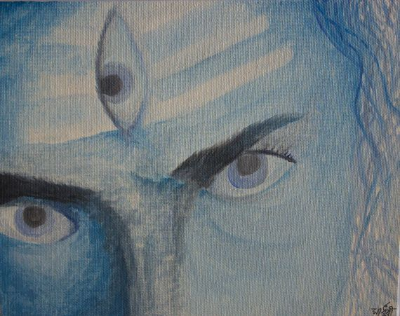 Lord Shiva Third Eye Indian God Original by RunePineStudio
