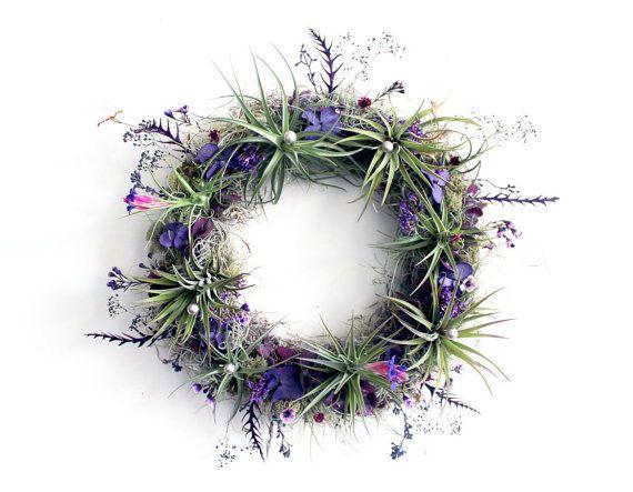 air plant wreath // plum  //  tillandsia by robincharlotte via Etsy