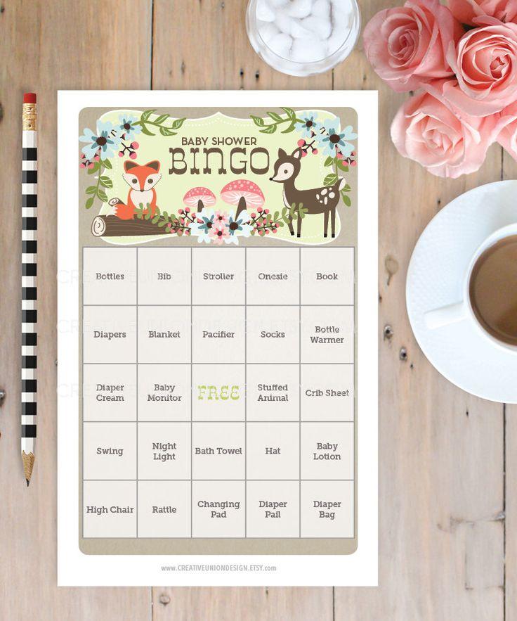 Baby Shower Game https://www.etsy.com/listing/176467398/woodland-baby-shower-bingo-50-unique
