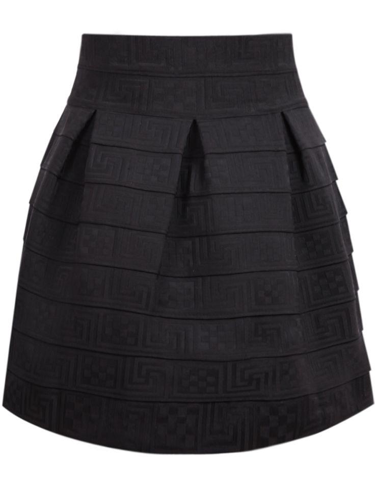 Striped Flare Black Skirt 14.33
