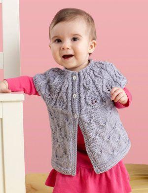 Free Knitting Pattern - Baby Sweaters: Leaf Yoke Cardigan