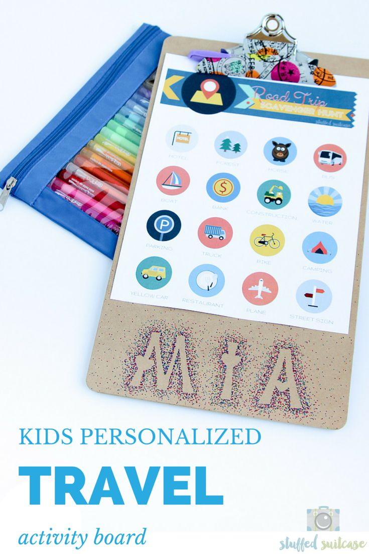 Here's a great craft for upcoming family vacations and road trips. Personalized Kids Activity Board by Stuffed Suitcase for iheartnaptime.net